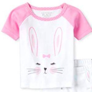 16- Short Sleeve Pajama Pant Set Bunny Ears Wh…